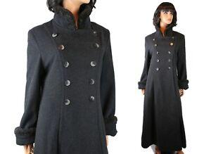 Princess Coat 8 M 40s Style Retro Charcoal Gray Wool Faux Fur Collar Cuffs Long