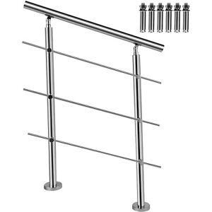 VEVOR Rambarde Garde-Corps Acier Inox Rampe Escalier Balustrade 3 Barres 80cm