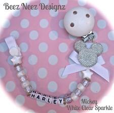 ❤ PERSONALISED  Any Name ❤ Dummy Clip ❤ MICKEY WHITE & SPARKLE ❤ Christening ❤