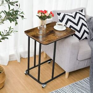 HOOBRO Side Table Mobile Snack Table Sofa Table Industrial Laptop Table Wood