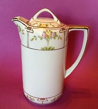 Nippon Noritake Teapot Or Chocolate Pot - Hand Painted Pink And Yellow Roses