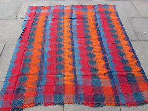 Vintage Tribal Nomadic Hand Made Oriental Blue Red Wool MOJJ Kilim 180x173cm