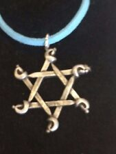 """CROSS SWORDS DR58 Made From Fine English Pewter On a 18"""" Blue Cord Necklace"""