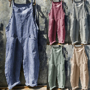 Womens Cotton Linen Jumpsuit Dungarees Long Trousers Casual Playsuit Overalls US