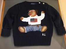 RALPH LAUREN BEAR WITH AMERICAN FLAG BLUE SWEATER SIZE 12 MONTHS INFANT CHILD
