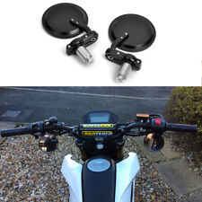 """Cnc Round Black Rearview Mirrors Set Custom for 7/8"""" Handle Bar End Motorcycle"""