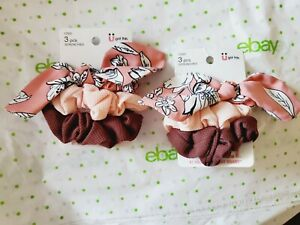 Scunci Everyday Scrunchies 2 Packs Pink Floral Tie Pink & Brown New