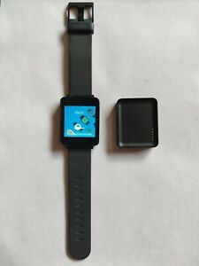 LG G Watch 38mm Stainless Steel Case Titan Black Classic Buckle - (W100)