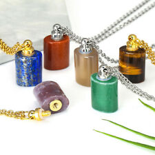 Bottle Shaped Natural Stone Pendant Aromatherapy Healing Crystal Chakra Necklace