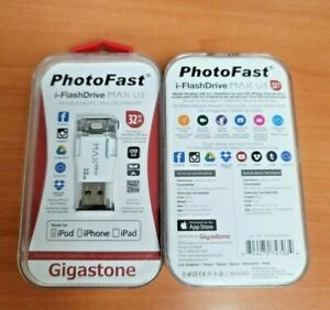 2 Pack of Gigastone 32GB PhotoFast i-Flashdrive Max U3 Memory Stick for iPhone