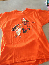Vintage 80s Denver Broncos 1990's Super Bowl T Shirt Orange L M Kicking Ass Rare