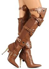 Demetria Stretchy Pointy toe Over the Knee Boots Grommet High Heel Women's Shoes