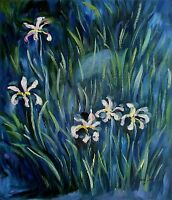 Claude Monet Irises Repro, Hand Painted Oil Painting 20x24in
