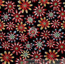 BonEful FABRIC FQ Cotton Quilt Black Red Pink Yellow FLOWER White Blue B&W S Dot