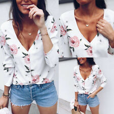 Women V Neck Long Sleeve Button T Shirt Floral Print Blouse Ladies Casual Tops