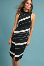 NWT Anthropologie Moth Black White Knit Asymmetrical Turtleneck Knit Dress XL