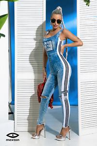 By Alina Mexton Damen Overall Jeans Jumpsuit Catsuit Einteiler Hosenanzug XS-M