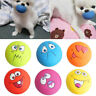 LATEX DOG PUPPY PET PLAY SQUEAKY BALL WITH FACE FETCH TOY BRIGHT