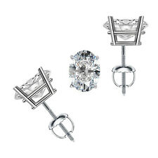 1.00 tcw Oval Cut Solitaire Stud Earrings Solid 14k White Gold Screw Back VVS1