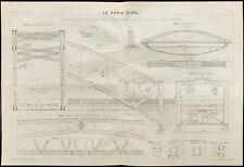 Indochine & Vietnam, plan ancien d'un pont sur le Ma. 1909, Génie civil