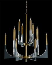 """47"""" T Chandelier Classic Form Meets Graphic Modern Design Acrylic Antique Brass"""