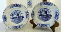 Lot of Antique English Delft Luncheon Plates Images of Holland 1850 Marked