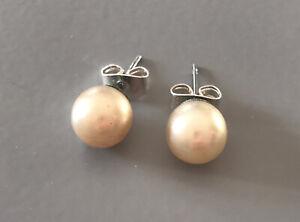 Faux Cream Pearl Stud Earrings 8mm