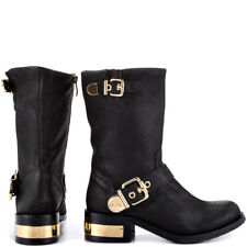 VINCE CAMUTO Winchell Black Silk Goat Boots Gold Buckle Harness  US61/2M-EU361/2