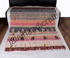 Multicolor 100% Cotton Handwoven Throw With Fringes Sofa Couch Bedding Blanket