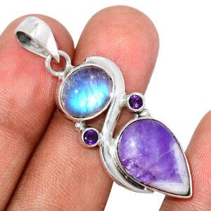 Chevron Amethyst & Moonstone 925 Sterling Silver Pendant Jewelry BP107620