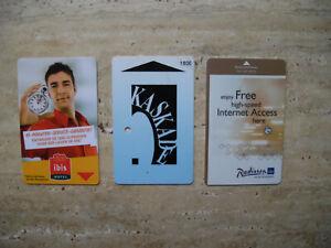 Drei gebrauchte Schlüsselkarten / Hotelkarten - nicht mehr nutzbar!