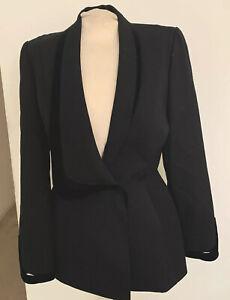 Amazing  Vintage Thierry  Mugler Paris Fitted Jacket W/Velvet Trim EUR 42 France