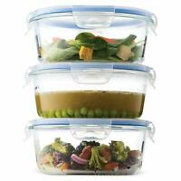Glass Meal Prep Food Storage Containers (3-Pack 32 oz) Oven Safe Portion Control