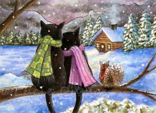 ACEO art print from art painting black Cat 585 squirrel winter by L.Dumas