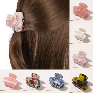 Womens Hollow Hair Clip Acrylic Hairpins Acetate Plastic Print Small Hair Claws