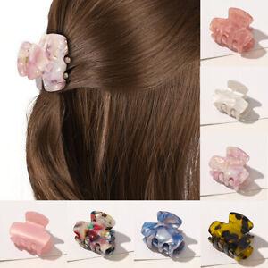 Womens Hollow Hair Clip Acrylic Hairpins Acetate Plastic Print Small Hair Claws
