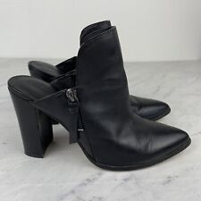 Rebecca Minkoff Heels 8 Womens Black Leather Pointed Toe Mules Shoes