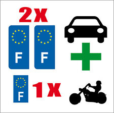 LOT 3 STICKERS 2 x AUTO+1 x MOTO STYLE PLAQUE IMMATRICULATION EUROPE F FRANCE