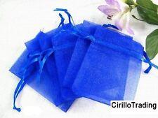 100 SACCHETTI ORGANZA BLU BLUE AZZURRO 9x12 cm CONFETTI BOMBONIERA PORTARISO