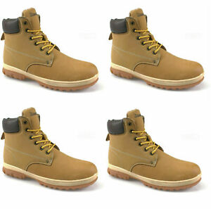 NEW MENS HONEY SAND  FUR LINED WINTER FASHION ANKLE HIKER TRAINER BOOTS SIZE 11