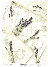 Rice Paper for Decoupage Scrapbooking, Vintage Letters Lavender ITD R742