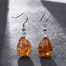 Woman Genuine Baltic  Earrings Silver Water Drop Long Dangle Jewelry Amber Color