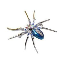 Dazzling Spider Clip Pin Brooch with Rhinestone Blue LW
