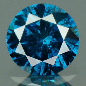 0.16 Carat NATURAL Deep Blue DIAMOND LOOSE for Setting Round Cut 3.5x2.1mm