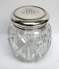 Ca. 1900 BLACK STARR & FROST STERLING SILVER LID ON CUT CRYSTAL BISCUIT JAR