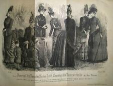 GRANDE GRAVURE MODE FEMININE ROBES CHAPEAUX ENFANT SALON OCTOBRE 1886