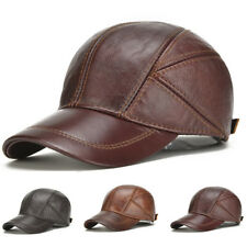 Mens Genuine Cow Leather Baseball Cap Winter Warm Hats With Ear Flaps Adjustable