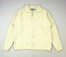 ARAN CRAFTS Thick Ivory Cream Heavy Wool Knit Fisherman Jumper Sweater Shirt L