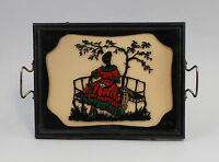 99880066 Tablett um 1900 Hinterglasbild Scherenschnitt Dame
