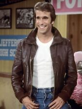 New Happy Days Fonzie Brown Genuine Leather Jacket